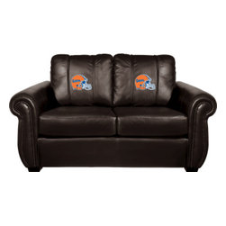 Dreamseat Inc. - University of Florida NCAA Helmet Chesapeake BLACK Leather Loveseat - Check out this awesome Loveseat. It's the ultimate in traditional styled home leather furniture, and it's one of the coolest things we've ever seen. This is unbelievably comfortable - once you're in it, you won't want to get up. Features a zip-in-zip-out logo panel embroidered with 70,000 stitches. Converts from a solid color to custom-logo furniture in seconds - perfect for a shared or multi-purpose room. Root for several teams? Simply swap the panels out when the seasons change. This is a true statement piece that is perfect for your Man Cave, Game Room, basement or garage.