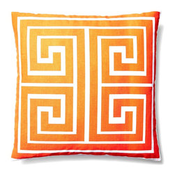 5 Surry Lane - Indoor Outdoor Greek Key Geometric Throw Square Pillow, Orange, 18x18, Greek Key - Add a pop of color to your deck or patio!  Made of 100% soft polyester fabric.  Withstands water and UV rays.  Mold and mildew resistant.  Hidden zipper closure.  Down insert included.