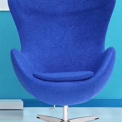 Fine Mod Imports - Inner Swivel Chair in Blue - Contemporary style. Tilt lock. Fire retardant polyurethane foam padding. Aluminum Base. Fiber glass frame. Warranty: One year. Made from 100% wool and fabric. Assembly required. Seat height: 17.5 in.. Overall: 34 in. W x 31 in. D x 43 in. H (70 lbs.)