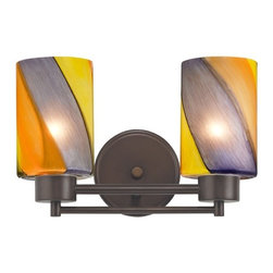 Design Classics Lighting - Modern Bathroom Light with Art Glass in Neuvelle Bronze Finish - 702-220 GL1015C - Contemporary / modern neuvelle bronze 2-light bathroom light. A socket ring may be required if installed facing down. Takes (2) 100-watt incandescent A19 bulb(s). Bulb(s) sold separately. UL listed. Damp location rated.