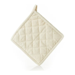 Organic Cotton Hot Pad - Protect your hands from burning with this 8-inch-square, sustainable organic cotton hot pad. Pot holder is square and has a corner pocket for easy use.