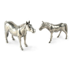 Mare/Colt Salt and Pepper Shaker - A richly detailed equestrian accent that provides classic charm when arranged in a vitrine cabinet but also offers practicality on the table, the Mare and Colt Salt and Pepper Shaker is a finely-modeled pair that, at first glance, you'll mistake for sculpture. Cast from pure pewter, the shakers accurately represent equine proportions for an expressive outdoor feel.