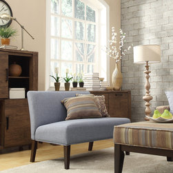 Inspire Q - INSPIRE Q Wicker Park Light Blue Linen Armless Loveseat - The Kayla armless loveseat is covered in a fun and elegant print upholstery that brightens up the look of your living room. The simple color scheme of the piece makes it an easy addition to any room in your home.