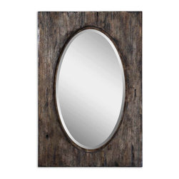 Uttermost - Oval Mirror with Aged Wood Frame Hitchcock - A  unique  rustic  mirror,  featuring  a  beveled  oval  mirror  against  a  distressed,  au  natural  frame.   This  mirror  adds  a  distinct  flavor  to  any  room,  bringing  nutural  wood  grain  tonalities  that  work  well  with  many  decor  color  choices.           Mirror  may  be  hung  horizontal  or  vertical.          Mirror  has  a  beveled  edge.