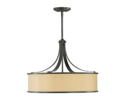 Murray Feiss - Murray Feiss Casual Luxury Drum Shade Pendant Light in Dark Bronze - Shown in picture: Casual Luxury 4-Light Uplight Chandelier in Dark Bronze finish with Bronze Oraganza Fabric on Hard Back Shade