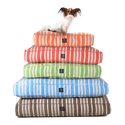 Hemp Stripe Dog Bed - Colorful, vertical ticking stripes � perfect for nautical or countryside d�cor as well as for urban apartments � pattern the tailored form of the Hemp Stripe Dog Bed, a health-preserving, eco-friendly cushion for your pet's lounging.  The cover is made from a hemp-cotton blend and infused with bright color using chemical-free dyes for a responsible, safe rest.
