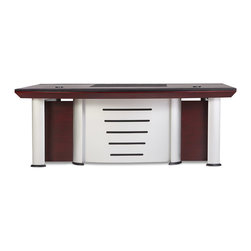 "Zuri Furniture - Reagan Mahogany Desk with Return and Cabinet - Be a member of the elite with the 83-inch Reagan executive desk. Features include combination mahogany wood, leather and metal elements, chrome cable cutouts, leather desk mat insert, pencil drawer, keyboard drawer, cabinet, 2 drawers and computer tower storage. All designed to promote the most high class business man or woman in a fashionable way. Includes rolling adjustable return and filing cabinet to complete a 3-piece set. This desk is a statement piece that speaks ""high-quality"".  Width: 83"" Height: 30""  Depth: 42""  Writing Pad Width: 27.5""  Rolling Filing Cabinet: 23.5"" High x 17"" Wide x 23.5"" Deep Rolling Return: 23.5"" High x 20"" Wide x 55"" Deep Desktop Thickness: 3""  Keyboard Tray Width: 20.5"""