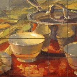 "Artwork On Tile - Ceramic Tile Mural Backsplash Gutting Kitchen Art 21.25"" x 17"" - AGA010 - * 21.25"" w x 17"" h x .25"" Ceramic Tile Mural on Architectural Grade, 4.25"" Tile w/Satin Finish"