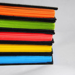 Handmade Blank Book with Neon Green Pages by Cathy Durso - These blank black books with neon pages would make awesome coffee table or mantel decor.