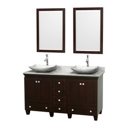 "Wyndham Collection - 60"" Acclaim Double Vanity w/ White Carrera Marble Top & Arista White Marble Sink - Sublimely linking traditional and modern design aesthetics, and part of the exclusive Wyndham Collection Designer Series by Christopher Grubb, the Acclaim Vanity is at home in almost every bathroom decor. This solid oak vanity blends the simple lines of traditional design with modern elements like beautiful overmount sinks and brushed chrome hardware, resulting in a timeless piece of bathroom furniture. The Acclaim comes with a White Carrera or Ivory marble counter, a choice of sinks, and matching mirrors. Featuring soft close door hinges and drawer glides, you'll never hear a noisy door again! Meticulously finished with brushed chrome hardware, the attention to detail on this beautiful vanity is second to none and is sure to be envy of your friends and neighbors"