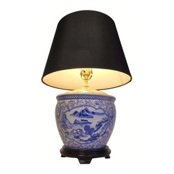 "Oriental furnishings - 24' H. Blue and White Landscape Porcelain Table Lamp With black and Gold Shade - Our 24""h. Chinese blue and white porcelain landscape painted bowl is a fabulous lamp that has a contrasting black shade with gold lining to complement the rich brass hardware! This low profile table lamp has an Asian design landscape panels surrounded by floral vine design. This table lamp makes a handsome addition to any room; imagine them on night stands or end tables. It has a simple design with modern shade that makes a colorful statement in any room! And what a great price! Imagine a pair on your buffet or hall table."