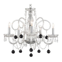 CRYSTAL CHANDELIER CHANDELIERS LIGHTING WITH BLACK CRYSTAL BALLS!