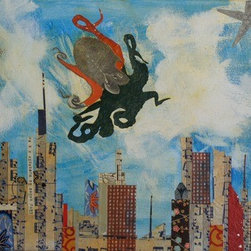 Octopus Sees A Landing (Original) by Mickey Bond - A lyrical mixed media painting in which an Octopus flies over an imagined city sky line.