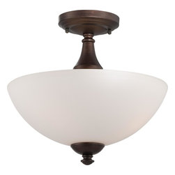 Nuvo Lighting - Nuvo Lighting 60/5164 Patton Es Three Light Semi Flush Ceiling Fixture Finished - Patton ES - 3 Light Semi Flush w/ Frosted Glass - (3) 13w GU24 Lamps Included