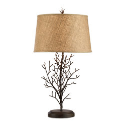 "Kathy Kuo Home - Winterfall Rustic Lodge Iron Twig Branch Lamp- 31""H - A natural twig affect is recreated in hand forged iron.  Boasting a coarse burlap shade and coordinating finial, the result is a modern whimsical statement."