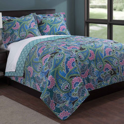 None - Teal Paisley 3-piece Quilt Set - Dress your bed with the teal paisley quilt mini set constructed of a microfiber cover and polyester fiber fill. This machine washable set is available in twin,full/queen and king dimensions.