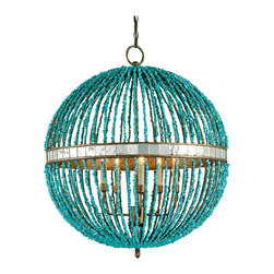 "Kathy Kuo Home - Lorenz Contemporary Turquoise Beaded 5 Light Orb Pendant Light - Totally contemporary and fearlessly fabulous, this turquoise beaded orb chandelier is guaranteed to cast a gorgeous light wherever it is placed.  Marble beads, a mirrored ""equator"" band, and five candle chandelier lights make it a noteworthy addition to modern spaces from Palm Springs to Palm Beach and everywhere in between."