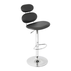 Lumisource - Segment Bar Stool Black - Separate yourself from the rest by adding this segmented bar stool to your decorating scheme. You'll experience the ultimate in comfort from a generously padded seat and back rest that fits to the contours of your body. A chrome footrest provides rest for your weary feet, while a hydraulic lift lets you adjust the seat to anyone's height.