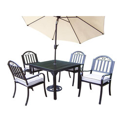 Oakland Living - 7-Pc Patio Dining Set - Includes square dining table, four arm chairs with cushions, 9 ft. tilting umbrella and stand. Lightweight. Umbrella hole. Metal hardware. Fade, chip and crack resistant. Crisp and stylish traditional straight pattern. Warranty: one year limited. Made from durable tubular iron. Hammer tone bronze hardened powder coat finish. Minimal assembly required. Chair: 21.5 in. W x 23 in. D x 34 in. H (28 lbs.). Table: 40 in. L x 40 in. W x 29.5 in. H (58 lbs.)The Oakland Rochester Collection combines practical designs and modern style giving you a rich addition to any outdoor setting. Each piece is hand cast and finished for the highest quality possible.