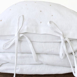 Toddler Bedding Set, European Linen Fabric by Colette Bream - The tiny stars on this crisp white duvet would be adorable in a little one's room.