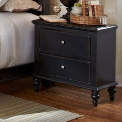Progressive Furniture Napa Valley 2 Drawer Nightstand - Antique Black - The hand-distressed antique black finish and classic, casual style of the Progressive Furniture Napa Valley 2 Drawer Nightstand - Antique Black make it a perfect fit for any traditional bedroom decor. This nightstand has two spacious drawers with bronze-finished metal hardware, and turned feet to complete the antiqued look.About Progressive Furniture: Established in 1985 in Hickory, North Carolina by several investors who had a vision to shape a successful furniture company, Progressive Furniture has thrived ever since. They began manufacturing and distributing occasional tables and naturally started creating bedroom furniture. By 2001, Progressive furniture had become a major force in U.S. furniture manufacturing covering the likes of several markets including: occasional tables, bedroom furniture, entertainment centers, and dining room furniture. Around that same time, Progressive Furniture was acquired by Sauder Woodworking and became a part of the Sauder family of companies. Together, they soon became the 7th largest furniture manufacturing company in the world. Today, Sauder and Progressive operate facilities in Ohio, North Carolina, California, Mexico, and China, including additional partnerships with factories in Indonesia, Vietnam, and Hong Kong. Progressive remains at the top of the industry and has been a trusted manufacturer for over 25 years.