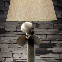 Kenroy - Kenroy 32129WS Prop Transitional Table Lamp - The sculptural quality found in common objects was the drive behind Prop.  Inspired, with a rich Weathered Steel finish, the mounted boat propeller adds real visual interest to a room.