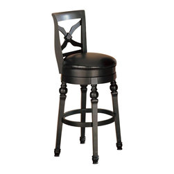 """Coaster - Coaster Lathrop 29 Inches Swivel Faux Leather Seat Bar Stool in Black Finish - Coaster - Bar Stools - 100279 - The Lathrop collection will help you create a fresh entertainment space in your home, with classic appeal. This gorgeous bar set has a Black finish, with turned details, distinctive """"X"""" backs, and luxurious faux leather seats for a cool style. Gather around with family and friends, and enjoy entertaining in style."""
