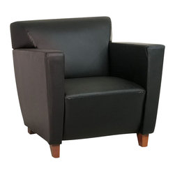Office Star - Office Star Furniture Black Leather Club Chair - Office Star - Club Chairs - SL8471 - The Office Star Black Leather Club Chair fits into any modern decor where comfort and sleek lines merge. Upholstered in black leather this chair sports Cherry finished legs and has ample arm rests. A matching sofa and love seat are also available.
