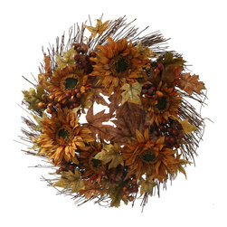 Christopher Knight Home - Christopher Knight Home 24-inch Fall Sunflower Berry Wreath - Decorated with realistic floral and foliage elements,this gorgeous wreath adds warm color and organic beauty to your home. A fitting accent for any autumn decor,the 24-inch diameter wreath includes faux sunflowers and red berries.