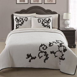 None - Countess 3-piece Applique Coverlet - This applique coverlet features a soft ribbed texture adorned with a subtle black floral design on a sweeping white background. The microfiber set includes shams and is completely machine washable.