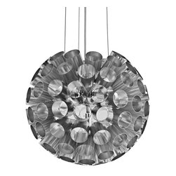 Pierce Aluminum Pendant Light - Break through outer limits with the Pierce modern pendant lamp. Made of aluminum and outfitted for four 20-watt halogen bulbs, Pierce transmits a diverse array of light from within the hole laden outer shell. Perfect for rooms in need of a vibrant piece full or energy and enthusiasm.