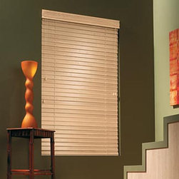 """Bali Northern Heights 2-1/2"""" Shutter Style Wood Blinds - Natural and inviting, Bali Northern Heights wood blinds add warmth and richness to any decor. Crafted from North American hardwoods and hand-assembled, our meticulous attention to detail ensures the highest level of quality craftsmanship. Crafted exclusively from North American hardwoods, we use sustainable forest management techniques to continuously replenish our wood supplies. Wood is kiln-dried to meet exact specifications; ensures slat and vane stability. Quality, defect free surfaces result from unique molding and sanding processes. Our certified color technicians inspect wood finishes in a climate-controlled setting. 2 1/2"""" Northern Heights Shutter Style Wood Blinds feature extra-large, beveled slats for the elegant look of a shutter and a superior view to the outside when open."""