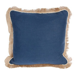 "Lacefield Designs - Navy Linen Pillow by Lacefield Designs - This is a fabulous pillow to layer, be it in a coastal or traditional setting. Navy linen is neatly bordered with ivory piping and jute fringe, this attractive pillow has the impact to sit alone or as a layer with other pillows on a bed or sofa. (LD) 24"" square feather down insert"