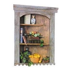 British Traditions - Large Hanging Corner Wall Shelf w Scallop Trim (Wild Blueberry) - Finish: Wild Blueberry. Each finish is hand painted and actual finish color may differ from those show for this product. Corner wall shelf. 3 Shelves. Scallop trim. Top shelf is set back. Minimal assembly required. Wall space: 21 in. on both sides. Shelf size. Top: 7 in. W. Center: 11 in. W x 12 in. D x 10 in. H. Bottom space: 11 in. W x 12 in. D x 11.5 in. H. 30.5 in. W x 14 in. D x 36 in. H (42 lbs.)The Large Hanging corner shelf is an accent piece of some substance. Try a pair flanking a fireplace. Lovely with just two or three exquisite porcelains - or a whole collection of 18th century pewter.