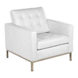 Fine Mod Imports - Button White Leather Arm Chair - Features: