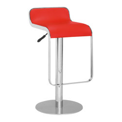 Zuo Modern - Equino Red Barstool - A versatile stool, the sleek Equino goes from the counter to the bar with a pull on its adjustable lift handle. A slight lip back, a flat seat and a footrest make this modern design as comfortable as it is stylish. Chrome plated steel frame; Matte silver base; Red leatherette seat; Adjustable lift