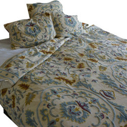 Crewel Fabric World - Crewel Bedding Medallion Cream Cotton Duck Duvet Queen - Inspiration: Medallion is a pattern inspired by the curiosity of our designers to combine the vines with a medallion design.