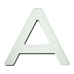 Atlas - Paragon House Letter A - PGNA-SS - Manufacturer SKU: PGNA-SS. Stainless steel surface. Weather resistant. Peel-n-stick recycled backing. Lacquered for durability. Dense polyfiber backing. Projection: 0.75 in.. Made from metal. 4 in. L x 4.75 in. W