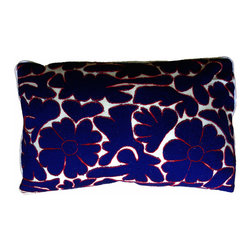 """Ayautla Marino Pillow - Beautiful pillow made from hand embroidered fabric from San Bartolomeo, Mexico. Insert included. Side Zipper. White cotton backing and piping. Size: 12""""x22"""""""