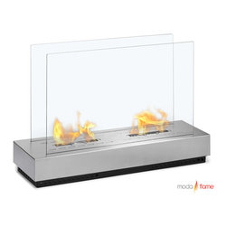 Moda Flame - Moda Flame Braga Free Standing Floor Indoor Outdoor Ethanol Fireplace - Add warmth, charm and ambiance with GF202100 Braga Free Standing Floor Indoor Outdoor Ethanol Fireplace by Moda Flame The Braga modern ethanol fireplace looks absolutely stunning as its design provides a unique touch in any atmosphere. With a solid steel base and two tempered glass sheets on each side of the burner, the Braga is well prepared for both indoor and outdoor enchanter. Fireplace (1)