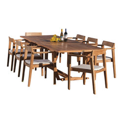 Westminster Teak Furniture - Veranda 9pc Danish Teak Outdoor Dining Set - 9pc Horizon Chair and Veranda Table dining set accommodates optional umbrella while epxanded or collapsed.  Constructed of Grade A, Eco-Friendly Teak Furniture.  100 Percent Refund Satisfaction Guaranteed, including any shipping charges.