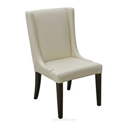 ARTeFAC - Wing Back Leather Dining Room Chair in Grey, Brown and Cream, Cream - R-567 Wing Back Cream Leather Dining Chair