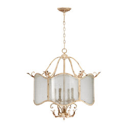 "Kathy Kuo Home - Maison French Country Antique White  4 Light Nook Chandelier - The Maison Chandelier brings the French countryside to every room.  Constructed from wrought iron finished in a proprietary ""Persian White"" finish add antiqued elegance to this four light chandelier.  Sophistication meets country classic at its best."