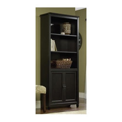 Sauder - Edge Water Bookcase in Estate Black Finish - 3 Shelves. Hidden storage behind doors. Made of engineered wood. Assembly required. 29 in. W x 13 in. D x 72 in. H