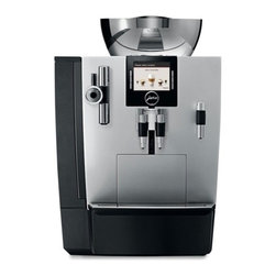 "Jura - Jura XJ9 Professional One Touch Automatic Coffee Center - Powerful.15-bar power pump with 1450 watt stainless steel lined ThermoBlock heating system. Fast continuous operation for use at home or in the office. One Touch Technology: Offers an impressive range of specialities at the simple touch of a button: latte macchiato, cappuccino, cafe"" cre""me, espresso, hot water serving. The newly developed micro brewing unit ensures espresso quality of the highest standard. Variable brewing unit - 5g-16g(0.011lb-0.035lb): For individual coffee strength and preparation of two cups in just one brewing operation.Intelligent Pre-Brew Aroma System (I.P.B.A.S.) : To allow the coffee aroma to develop to the full.Bipass Doser: Brew with ground coffee using the doser located on the upper left of the machine.Hot water function: Adds to the range of hot beverages.Conical Burr Grinder: Commercial solid steel conical burr grinder, sound insulated, with 6 fineness settings and a 17.6 ounce bean container. Electronic bean level sensor never lets you run out of beans, preventing weak coffees. CLEARYL Water Care System. Removes chlorine, lead, aluminum and copper from your tap water for a better tasting coffee. A special organic additive removes almost all calcium and eliminates decalcifying altogether. Electronic CLEARYL cartridge change indicator makes sure that you always have the best water possible. TFT Color display:  For self-explanatory, intuitive operation. You can enjoy a Latte macchiato at the touch of a button; the XJ9 will produce three perfect layers effortlessly. Plus you can get a cappuccino at the touch of a button; you don't need to move the cup.Coffee e"" la carte The XJ9 One Tough TFT flatters the palate with coffee e"" la carte in all conceivable variations. With the a la carte button and the rotary dial you can override the coffee strength and cup size just before brewing. The new rotary dial technology also allows you to adjust the strength of the coffee on all beverage buttons while it is grinding as well as adjust the cup size during the brewing cycle. This feature in addition to the interactive TFT selector makes this machine super easy to use.Dual ThermoBlocks: Two separate stainless steel lined ThermoBlock heating systems are always at the ready for coffee and steam. No downtime and no contact with the aluminum.Easy To Maintain: Integrated rinsing, cleaning and descaling program: Hygiene guarantee thanks to machine maintenance at the touch of a button. Integrates cappuccino rinsing and cleaning program: Optimum hygiene and convenience at the touch of a button after frothing or heating milk.Maintenance status display: Shows the cleaning, descaling and filter status and the number of products dispensed.Adjustable water hardness: For descalingthe machine in good time (when CLARIS is not used).Zero-Energy Switch or power switch:  Disconnects the machine from the power supply and avoids using energy on standby.Energy Save Mode (E.S.M.):  Helps to save energy and protect the environment.Powder recognition for additional ground coffee variety:  Product is dispensed immediately after filling with the coffee powder.Fully Programmable:  Programmable coffee strength levels (5); enjoy the perfect coffee to suit your personal taste. Coffee strength can be adjusted for each preparation; enjoy the perfect coffee to suit your personal taste. Programmable brewing temperature levels (2); it can be adjusted to suit you personal preference. Hot water temperature can be programmed to 3 levels; perfect for the tea of your choice. Programmable amount of water; to suit the size of your cup. Programmable switch off time; the machine is ready when you need it.Flexibility:  Amount of water can be adjusted for each preparationIntelligent preheating:  For hot coffee from the first cup.Integrated storage compartment:  The hot-water nozzle and measuring spoon are always to hand.Cup Brewing Illumination: A little light shines down for added visibility. Adjustable coffee spout: Allows to brew large coffee or cappuccinos directly in a cup"