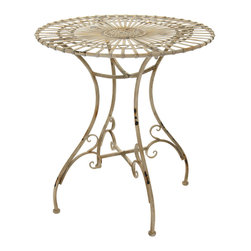 Oriental Furniture - Rustic Garden Table - Distressed White - With its hand-distressed appearance and classic wrought iron design, this garden table is a creative way to add a shabby-chic accent to your home decorating. Featuring a floral medallion and sunburst design, this table is an attractive surface on which to entertain guests, play a game of cards, or serve tea. Each of these tables is distressed by hand for a one-of-a-kind antiqued appearance and look lovely both indoors and out.