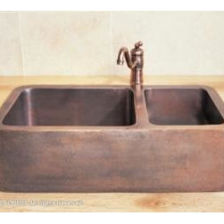 Stone_Forest - Stone Forest - Double Basin Copper Farmhouse Sink - CP-04D - Dimensions: 33 Inch W x 19 Inch D x 10 Inch H