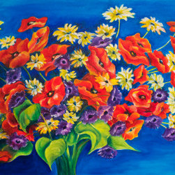 """Favorite Flowers Bouquet (Original) by Debra Bucci - Red, orange, yellow, purple, blue and white are wonderful colors for a flower bouquet. This colorful creation includes everyone's favorite flowers; poppies and daisies. To enhance the contrast, I added purple anemones and captured the light coming in from the right.  The flowers are energized by their shapes and magnetic from the opposing color combinations. It's a relaxed piece that would look amazing in a traditional or modern home and at 24""""x 36"""", would look wonderful in the dining room, above the couch or above the headboard."""