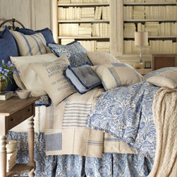 "French Laundry Home - French Laundry Home King Patchwork Coverlet - A relaxed and charming bedding ensemble in indigo and ivory. Made in the USA of linen and cotton by French Laundry Home. Patchwork patterns on coverlets will vary. Dry clean. Gathered floral dust skirts have an 18"" drop. Cotton knit throw and matchi..."