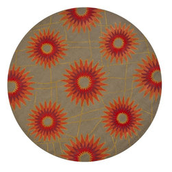 """Chandra - Contemporary Daisa Round 7'9"""" Round Red-Orange Area Rug - The Daisa area rug Collection offers an affordable assortment of Contemporary stylings. Daisa features a blend of natural Red-Orange color. Hand Tufted of New Zealand Wool the Daisa Collection is an intriguing compliment to any decor."""